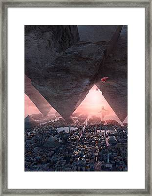 Framed Print featuring the digital art wonders great pyrimaid of Giza by Te Hu