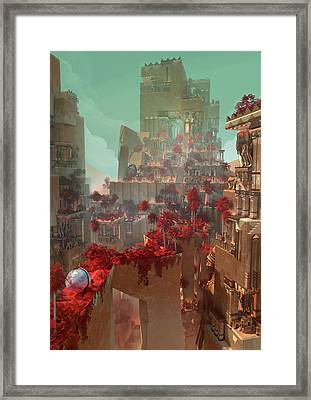 Framed Print featuring the digital art Wonders Hanging Garden Of Babylon by Te Hu