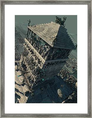 Framed Print featuring the digital art wonders Mausoleum at Halicarnassus by Te Hu