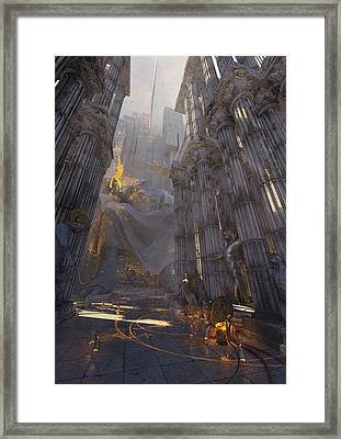 Framed Print featuring the digital art Wonders Temple Of Zeus by Te Hu
