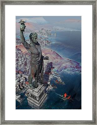 Framed Print featuring the digital art wonders the Colossus of Rhodes by Te Hu