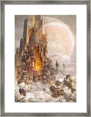 Framed Print featuring the digital art Wonders Tower Of Babylon by Te Hu