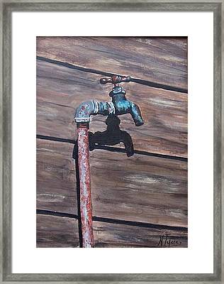 Framed Print featuring the painting Wood And Metal by Natalia Tejera