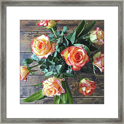 Wood And Roses Framed Print