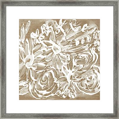 Wood And White Floral- Art By Linda Woods Framed Print by Linda Woods