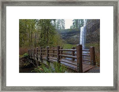 Wood Bridge At Silver Falls State Park Framed Print