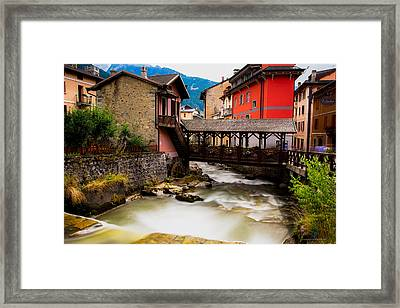 Wood Bridge On The River Framed Print