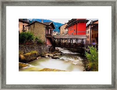 Wood Bridge On The River Framed Print by Cesare Bargiggia