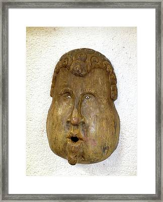 Framed Print featuring the photograph Wood Carved Face by Francesca Mackenney