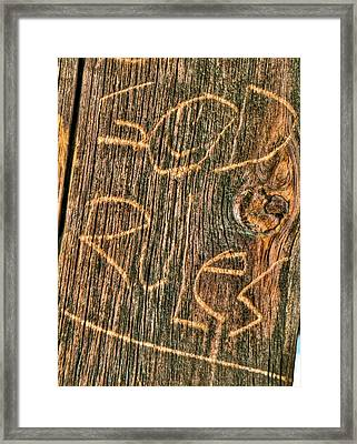 Wood Carving God Rules Framed Print by Connie Cooper-Edwards
