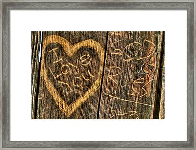 Wood Carving Graffiti Framed Print by Connie Cooper-Edwards