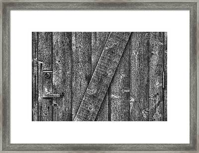 Wood Door With Handle Detail Framed Print