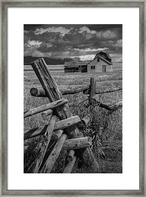 Wood Fence By The Moulton Farm On Mormon Row Framed Print by Randall Nyhof