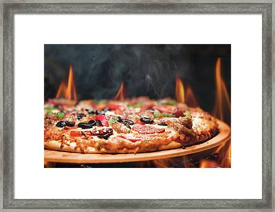 Wood Fired Pizza With Flames Framed Print