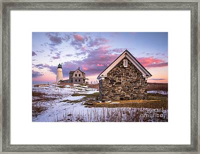 Wood Island Lighthouse In Winter Framed Print