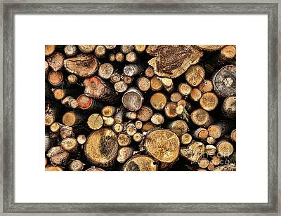 Wood Log Stack Number 144 Framed Print