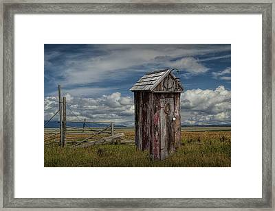 Wood Outhouse Out West Framed Print by Randall Nyhof