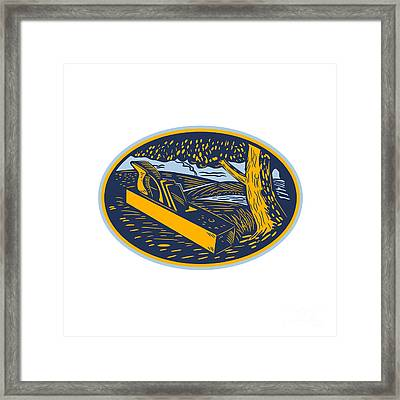 Wood Plane Forest Oval Woodcut Framed Print