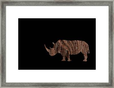 Wood Rhino Framed Print
