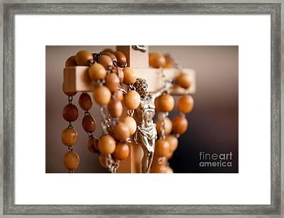 Wood Rosary And Jesus Figurine Framed Print by Arletta Cwalina