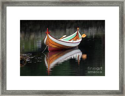 Wood Rowing Skiff Framed Print