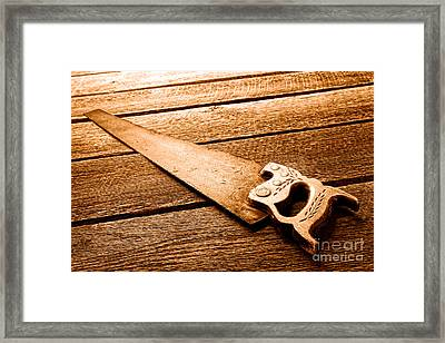 Wood Saw - Sepia Framed Print by Olivier Le Queinec