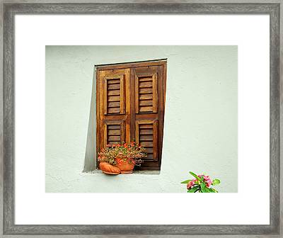 Framed Print featuring the photograph Wood Shuttered Window, Island Of Curacao by Kurt Van Wagner