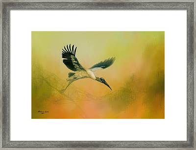 Wood Stork Encounter Framed Print by Marvin Spates