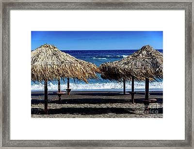 Wood Thatch Umbrellas On Black Sand Beach, Perissa Beach, In Santorini, Greece Framed Print