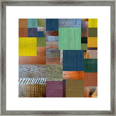 Framed Print featuring the digital art Wood With Teal And Yellow by Michelle Calkins