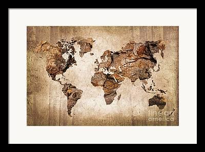 Old Earth Map Framed Prints