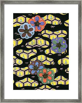 Woodblock Print Of Honeycomb Pattern Framed Print by Japanese School