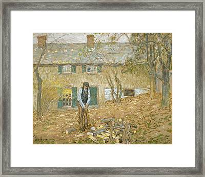 Woodchopper  Framed Print by Childe Hassam