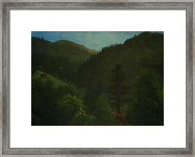 Wooded Landscape Framed Print by Albert Bierstadt