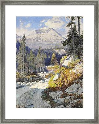 Wooded Landscape With A Path And A Mountain Beyond Framed Print