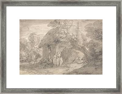 Wooded Landscape With Figures Outside A Cottage Door Framed Print