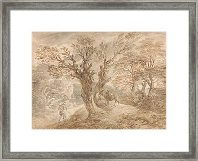 Wooded Landscape With Peasant And Donkeys Framed Print by Thomas Gainsborough