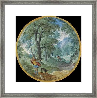 Wooded Landscape With Silvio And Dorinda Framed Print