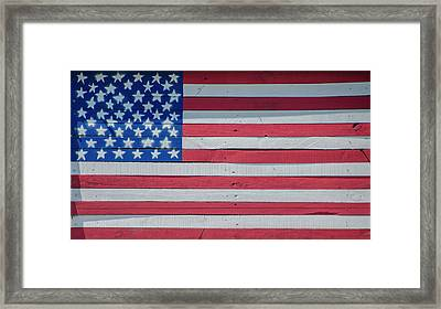 Framed Print featuring the photograph Wooden American Flag by Bill Cannon