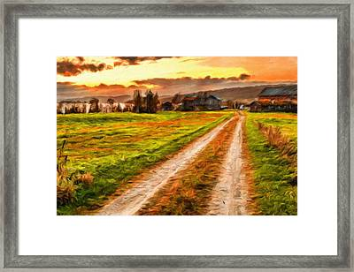 Wooden Barn With Farmhouse At Sunset In Norway Framed Print