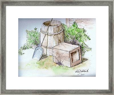 Wooden Barrel And Crate Framed Print