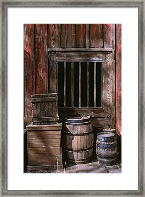 Wooden Barrels Framed Print by Carlos Caetano
