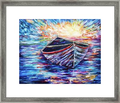Wooden Boat At Sunrise - 2 Framed Print by Art OLena