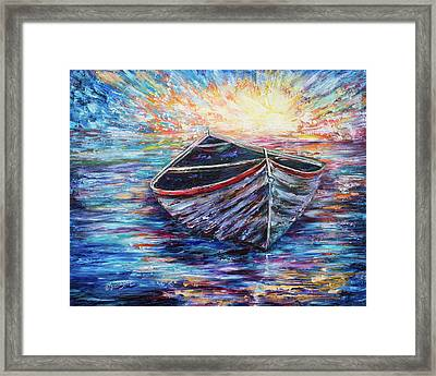 Wooden Boat At Sunrise  Framed Print by Art OLena