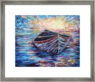Wooden Boat At Sunrise  Framed Print by Lena  Owens OLena Art