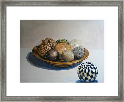 Wooden Bowl With Spheres Framed Print by Yvonne Ayoub