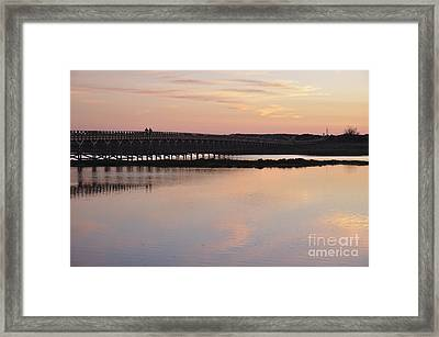 Wooden Bridge And Twilight Framed Print