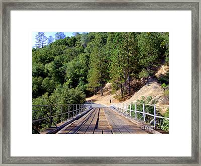 Wooden Bridge Over Deep Gorge Framed Print by Mary Deal