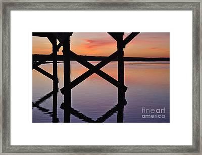 Wooden Bridge Silhouette At Dusk Framed Print