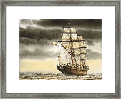 Wooden Brig Under Sail Framed Print